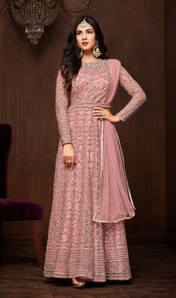 YOYO Fashion Pink Net Anarkali Semi-Stitched Salwar Suit With Dupatta $ F1283-Pink