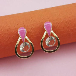 Tanishka Fashion Gold Plated Pink Meenakari Austrian Stone Stud Earrings $ 1312857E