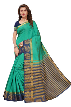 16to60trendz Green and Blue Tusar Silk Handloom Art Work Kanjivaram saree $ SVT00025
