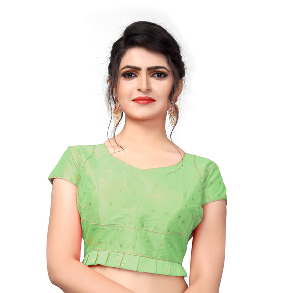 YOYO Fashion Light Green Malbari Solid Blouse & YO-BL4005-Light Green