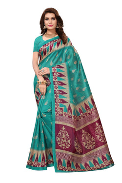 16TO60TRENDZ Green Color Printed Bhagalpuri Silk Saree $ SVT00478