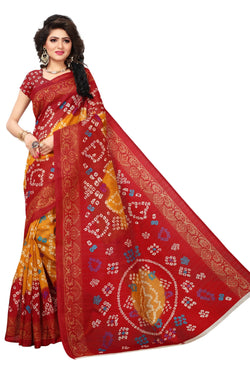 16TO60TRENDZ Red Color Printed Bhagalpuri Silk Saree $ SVT00441