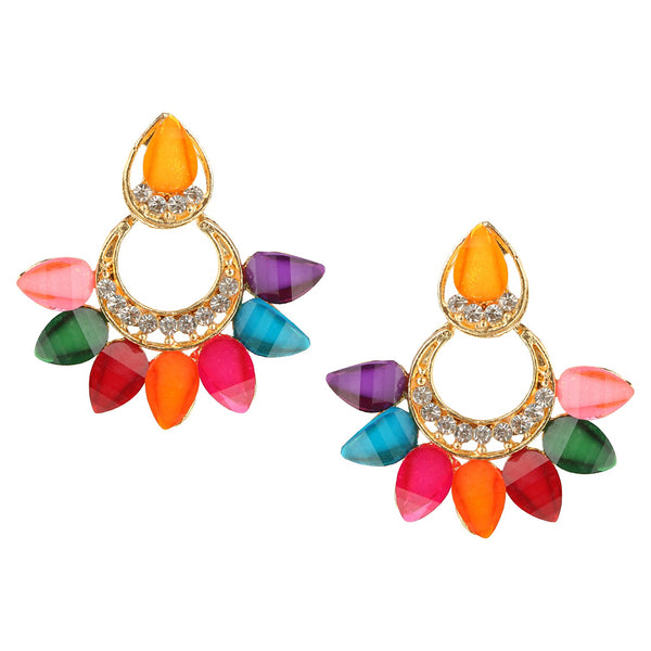 Parna Attractive Multicolor Crystal Diamond Alloy Gold Plated Drop Earring $ EAR-134