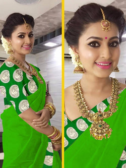 16to60trendz Green Chanderi Lace Work Chanderi Saree $ SVT00410