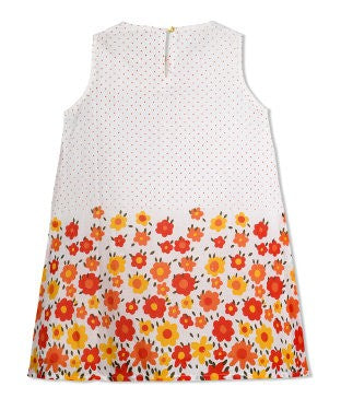 Budding Bees Girls Border Floral Dot Printed A-Line Dress
