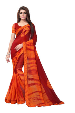 YOYO Fashion Printed Georgette Maroon Saree With Blouse $ YOYO-SARI2616-Maroon