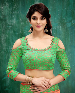 Manvi Fashion Green Color Border Piping Work Broket in Fabric Party Wear Readymade Blouse $ MF 3103