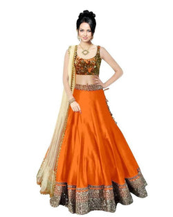 Muta Fashions Women's Semi Stitched Bangalory Cotton Orange Lehenga $ LEHENGA55