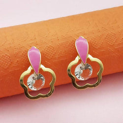 Tanishka Fashion Gold Plated Pink Meenakari Austrian Stone Stud Earrings $ 1312862E