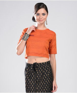 Aastha & Siddhartha Orange And Maroon H/S Top