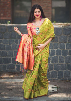 Fashion Zonez Printed Patola Silk Bird green Designer Saree With Blouse $ FZ 1637