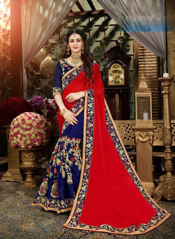Fashion Zonez Jari Embroidery with Multi Embroidery Lace Border Georgette Red & Blue Designer Saree With Blouse $ FZ 1969
