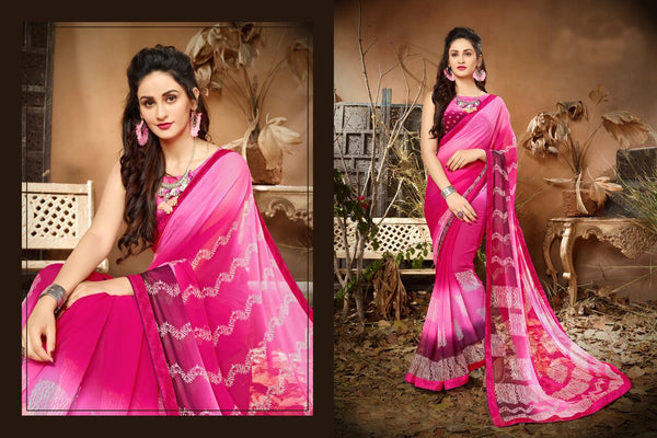 Fashion Zonez Jari Embroidery with Multi Embroidery Lace Border Georgette Pink Designer Saree With Blouse $ FZ 1979