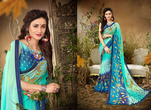 Fashion Zonez Jari Embroidery with Multi Embroidery Lace Border Georgette Blue Designer Saree With Blouse $ FZ 1985