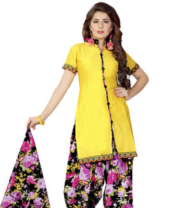 Minu Suits Lime Yellow Cotton Salwar Suits Sets Dress Material Freesize,Satinpatyala_6006