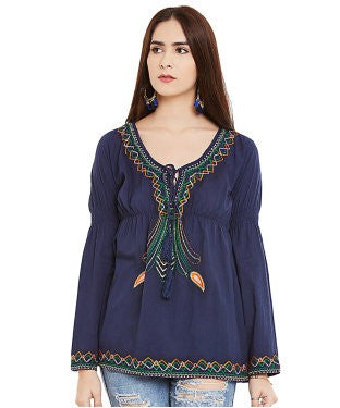 Miway Royal Blue Cotton Cambric Tunic