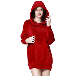 London Rag Soft and Comfortable Velvet Burgundy Hoodie-CL7336