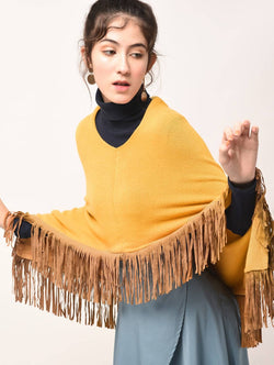 Aiyra Yellow Color wollen fringed edge v-neck poncho $ AR15800332_free size