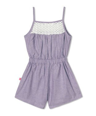 Budding Bees Girls Purple Chambray Paysuit