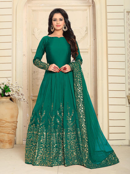 YOYO Fashion Designer Embroidered Tafeta Silk Bridal Anarkali Salwar Suit - F1075-Rama