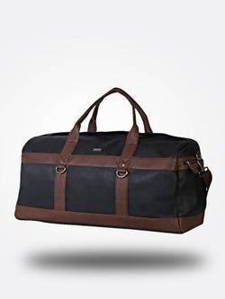 Strutt Unisex Black Leatherette Duffle Bag with Brown Interlink $ SMD510