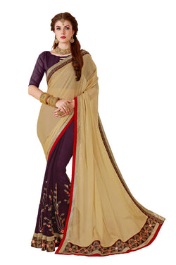 Muta Fashions Women's Unstitched Georgette Light Brown (Chicku) Saree $ MUTA1418
