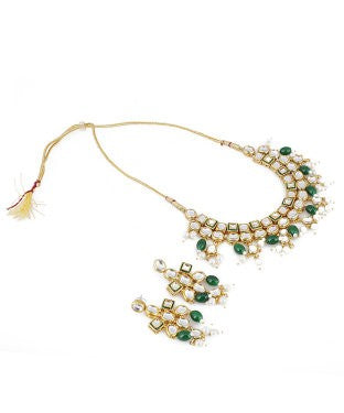 aradhya Brass, Metal Jewel Set (Green, White)