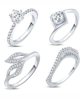 Sukkhi Valentine Collection Incredible Rhodium Plated CZ Combo With Rose Box For Women Pack Of 4