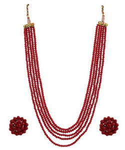 Aradhya Crystal Jewel Set (Maroon)