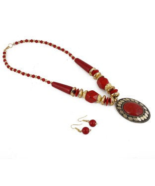 aradhya Alloy, Metal Jewel Set (Red)