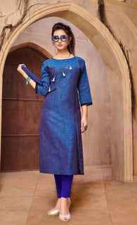 Manvi Fashion Women's Designer Partywear Blue Color Khadi Cotton Fabric Readymade Kurti $ MF 2783