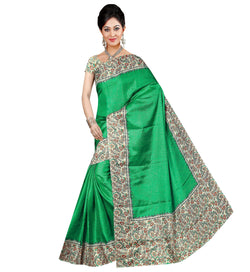 BL Enterprise Women's Bhagalpuri Cotton Silk Green Color Saree With Blouse Piece $ BLLB-43