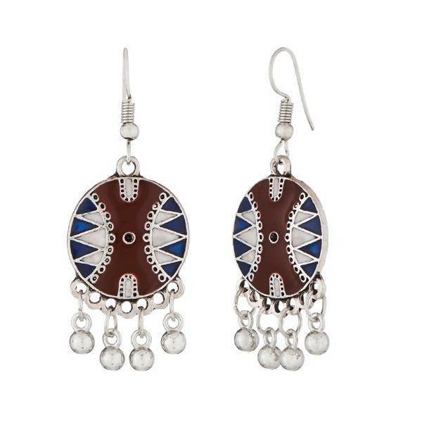 Tanishka Fashion Maroon & Blue Meenakari Silver Plated Dangler Earrings $ 1312505C