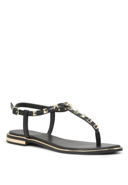 London Rag Women's Black Flat T-strap Thong Sandals $ SH1571