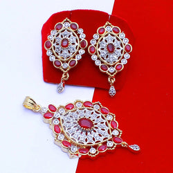 Ankita Fashion Gold Plated American Diamond Red AD Tilak Pendant set $ AF78861232