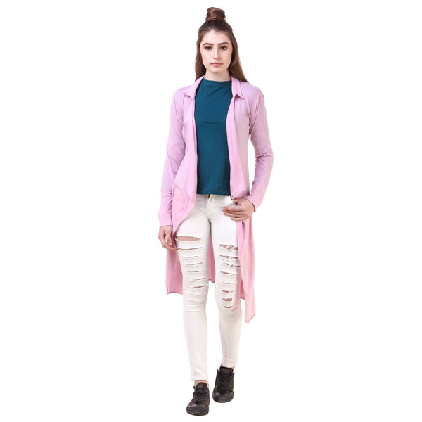 Fame 16 Long Sleeves Women's Pink Cotton Solid Shrug $ F16-1600161