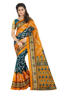 16TO60TRENDZ Yellow Color Printed Bhagalpuri Silk Saree $ SVT00434