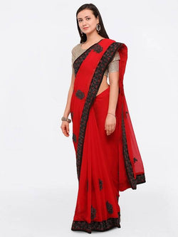 Umang NX Red Georgette Designer Embroidery Sarees $ UN5695