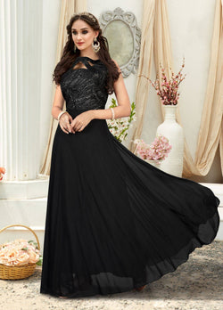 Manvi Fashion Women's Black Color Jacquard Fabric Embroidery Work Gown $ MF 2549