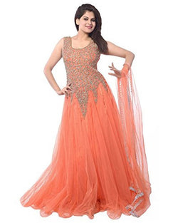 Muta Fashions Women's Semi Stitched Net Orange Gown $ GOWN00002