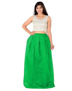 Muta Fashions Women's Semi Stitched Banglory Silk Green Gown $ GOWN00034
