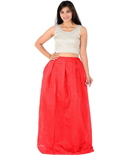 Muta Fashions Women's Semi Stitched Banglory Silk Red Gown $ GOWN00036