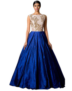 Muta Fashions Women's Semi Stitched Banglory Silk Blue Gown $ GOWN00043