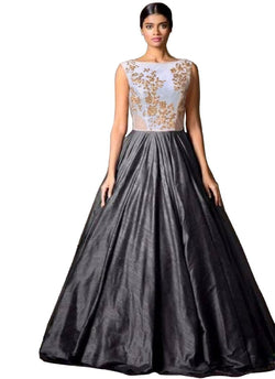 Muta Fashions Women's Semi Stitched Banglory Silk Grey Gown $ GOWN00044
