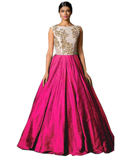 Muta Fashions Women's Semi Stitched Banglory Silk Pink Gown $ GOWN00045