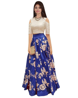 Muta Fashions Women's Semi Stitched Banglori Silk Blue Gown $ GOWN00051