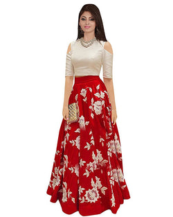 Muta Fashions Women's Semi Stitched Banglori Silk Red Gown $ GOWN00053