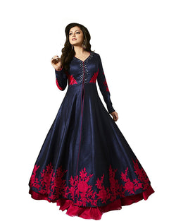 Muta Fashions Women's Semi Stitched Bangalory Silk Blue Gown $ GOWN00061