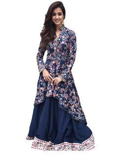 Muta Fashions Women's Semi Stitched Crepe Blue Gown $ GOWN00063