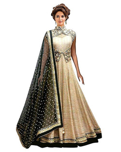 Muta Fashions Women's Semi Stitched Bangalory Silk Ligth Brown Gown $ GOWN00064